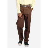 SECONDARY SCHOOL BROWN LONG PANTS - COTTON